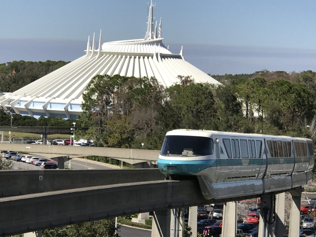 Disney Monorail with Space Mountain in background