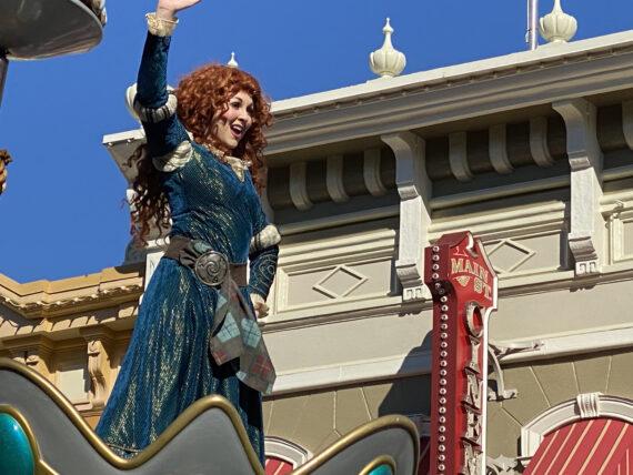 Merida on a Disney parade float