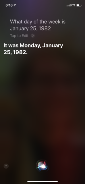 January 25, 1982 day of the week search result