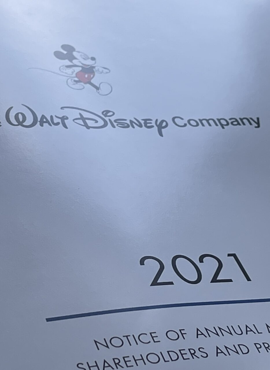 Disney 2021 shareholder report front page