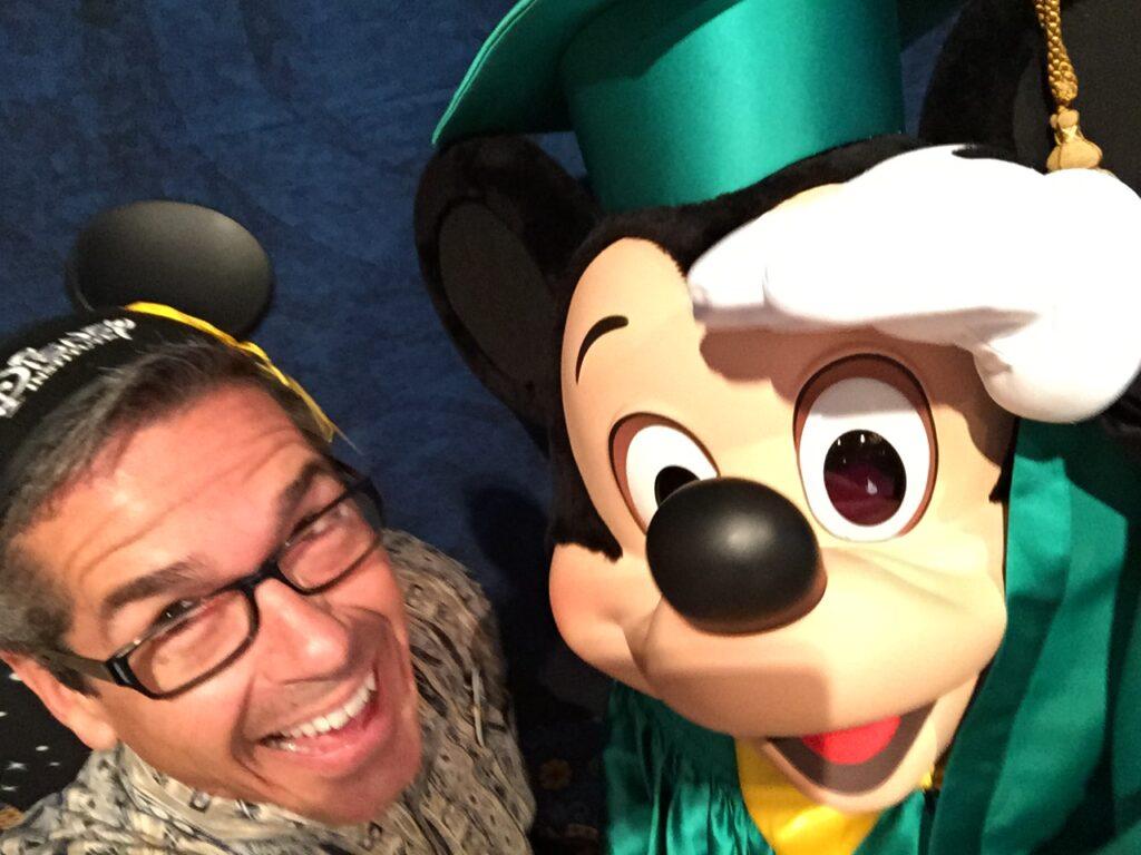 Disney Keynote speaker Jeff Noel with Mickey Mouse